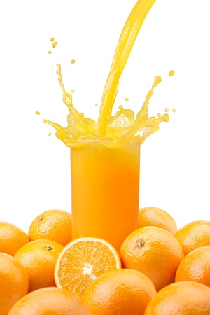 pouring a glass of orange juice creating splash