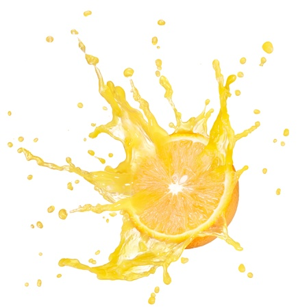 orange with splash isolated on white background photo