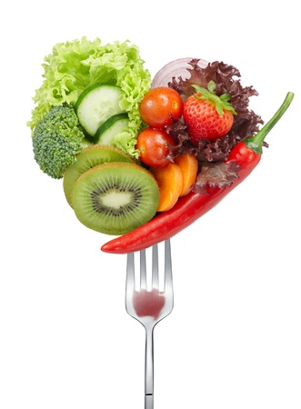 variety of vegetables in heart shape on fork Stock Photo