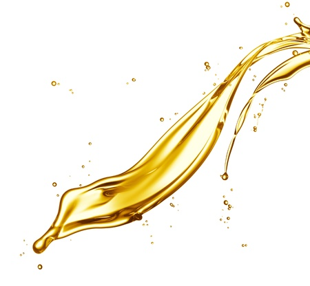 liquid gold: engine oil splashing isolated on white background Stock Photo