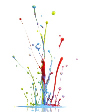 colorful paint dancing and jumping on white background photo