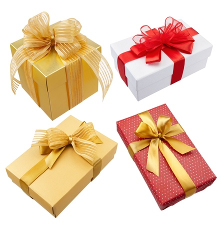 gold gift box: various type of gift boxes isolated on white Stock Photo