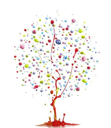 green ink: colorful paint splashing form into tree shape Stock Photo