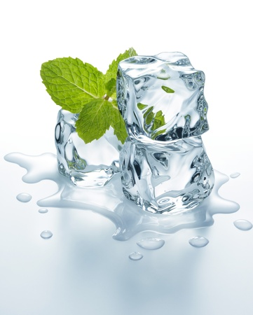 three melting ice cubes with mint leaves