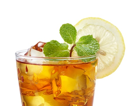 ice lemon tea: close up of iced tea against white background