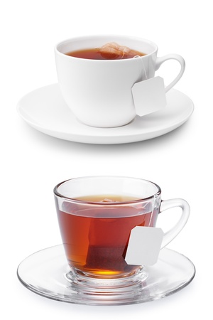 saucer: two cups of tea isolated on white