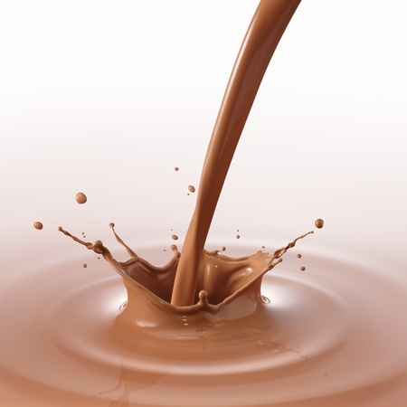 milk splash: pouring chocolate drink created splash and ripple Stock Photo