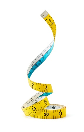 cinta metrica: la cinta girando medida aislada sobre fondo blanco