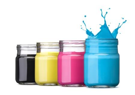 bottles of ink in cmyk colors, cyan with splash