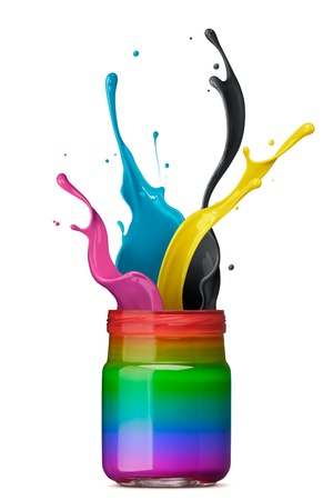 indigo: bottle of rainbow color ink with cmyk splash Stock Photo
