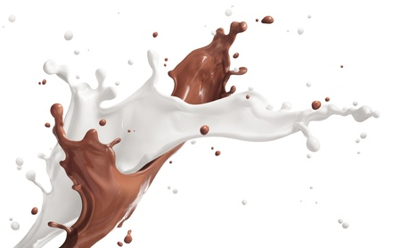 milk drop: milk and chocolate splashing isolated on white