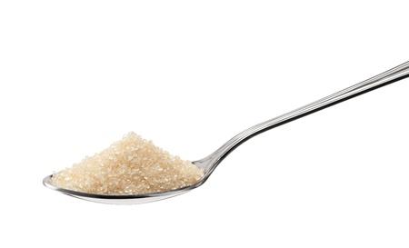 teaspoon: heap of brown sugar on teaspoon isolated on white