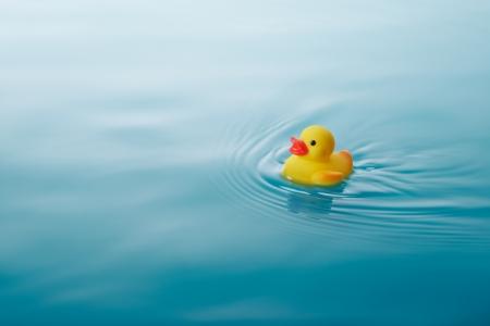 물 일으키는 파도와 잔물결에 노란색 고무 오리 수영