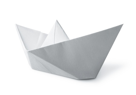 origami paper boat isolated on white background
