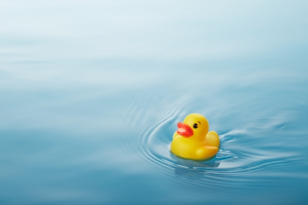 causing: yellow rubber duck swimming on water causing waves and ripples