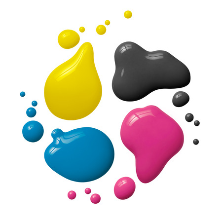 splattered cmyk paint isolated on white background Stock Photo