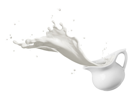 jug of spilling fresh milk creating splash