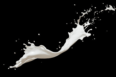 twisted milk splash isolated on black background