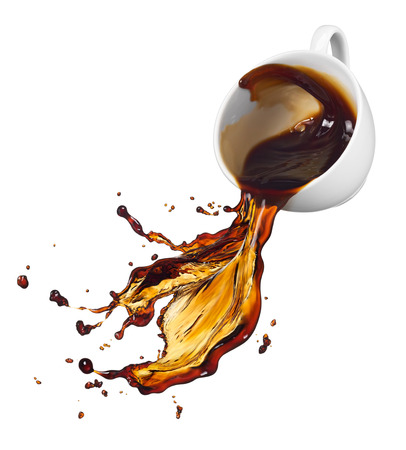 spills: cup of spilling black coffee with splash