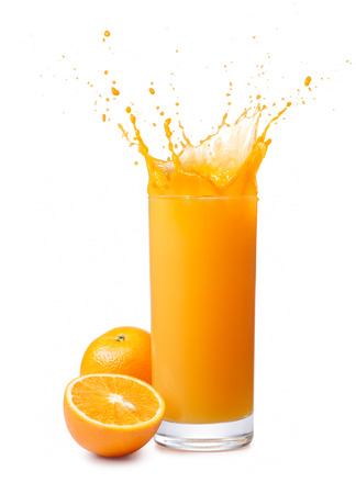 orange juice: glass of splashing orange juice with its fruits