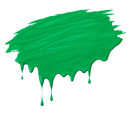 paint drips: uneven green paint scribble with drips isolated on white Stock Photo