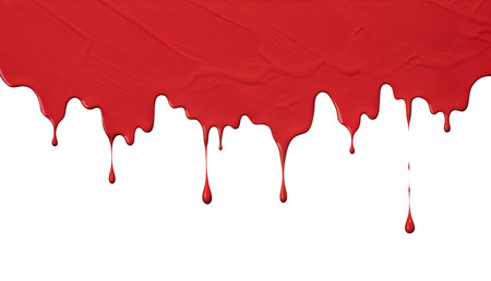 uneven red paint drips, use as background Stock Photo