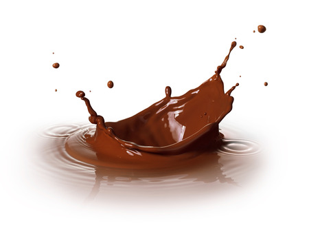 chocolate drink splashing with ripple and reflection