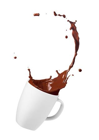 splash: cup of spilling chocolate drink creating splash