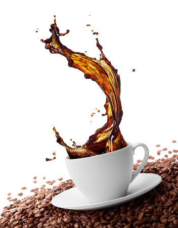 cup  coffee: cup of coffee with splash surrounded by coffee beans Stock Photo