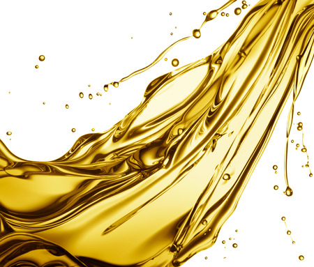 engine oil splashing isolated on white background Archivio Fotografico