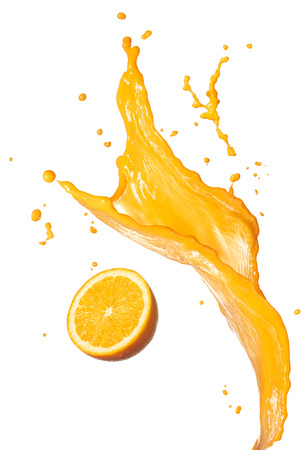 orange juice splashing with its fruit isolated on white