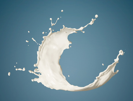 fresh milk splashing isolated on blue background