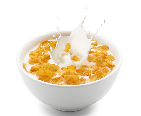 corn meal: corn flakes with milk splash isolated on white