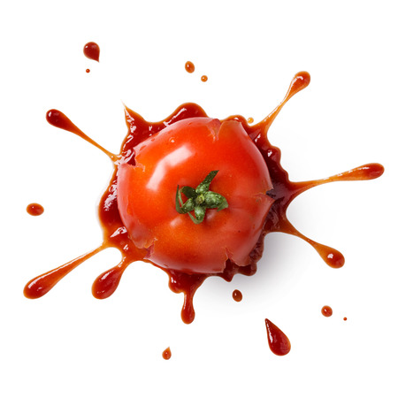 crushed or splattered tomato with ketchup isolated on white Stock fotó
