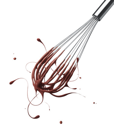 wire whisk with splashing chocolate isolated on white