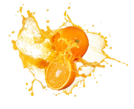 orange fruit: orange juice splashing with its fruits isolated on white