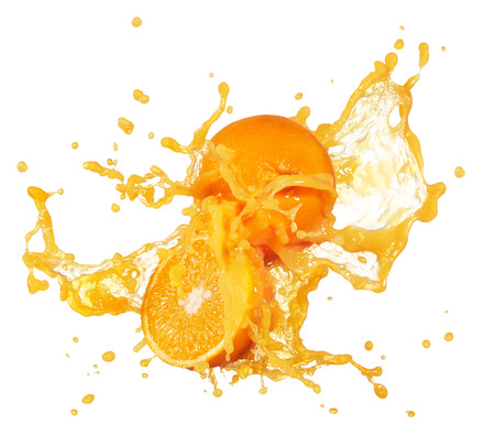 orange juice splashing with its fruits isolated on white Stock Photo - 38831316