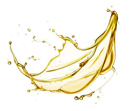 aceite oliva: aceite de motor salpicaduras aisladas sobre fondo blanco