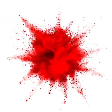 fondo rojo: explosión de polvo de color rojo aisladas sobre fondo blanco