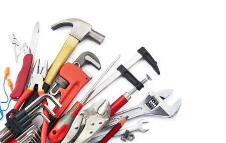 various type of tools on white background with copy space Archivio Fotografico