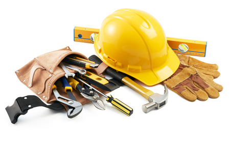 various type of tools in group on white background Standard-Bild