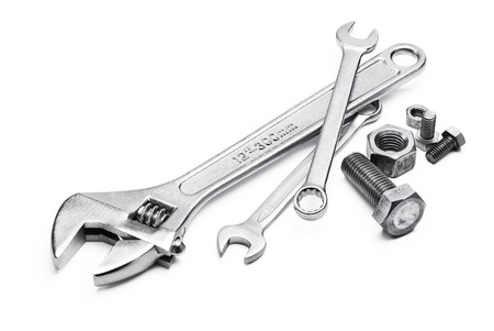 various type of spanners with bolts and nuts Stok Fotoğraf - 44007780