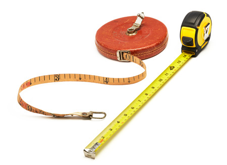 hardware tools: old and new tape measure isolated on white