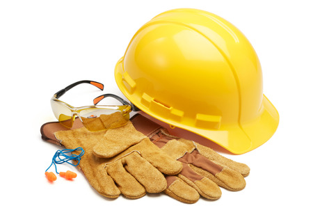 various type of protective workwears against white background Foto de archivo