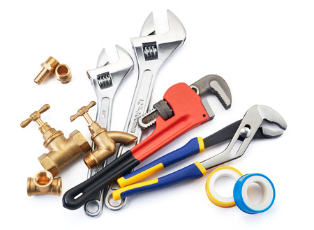 vise grip: various type of plumbing tools on white background