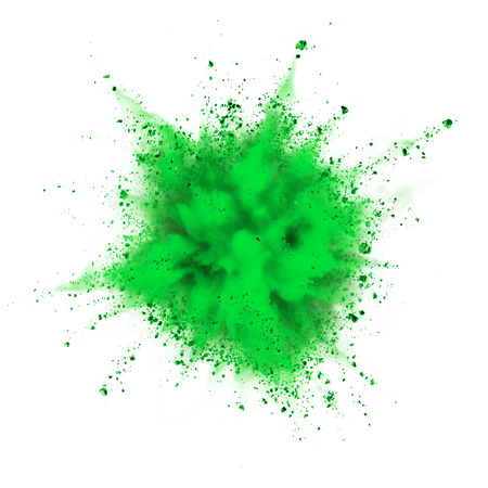 white powder: green powder explosion isolated on white background