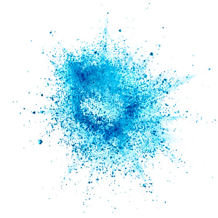 Blauw poeder explosie op een witte achtergrond Stockfoto - 45945905