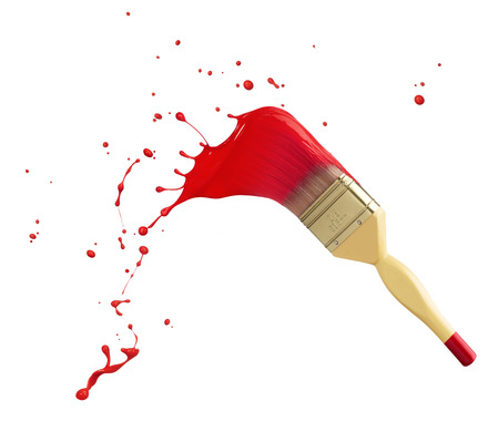 paintbrush with red paint splash isolated on white Foto de archivo