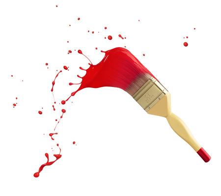 brocha de pintura: pincel con salpicaduras de pintura roja aislados en blanco