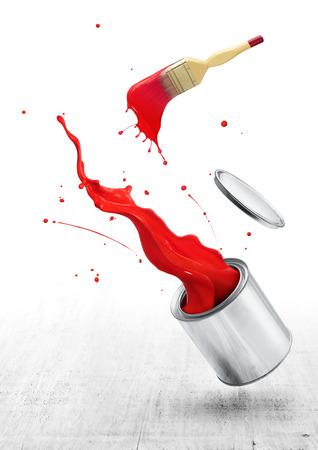 brocha de pintura: pintura roja salpica hacia fuera de su cubo con pincel